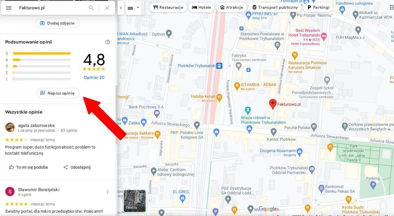 Opinia w Google Maps