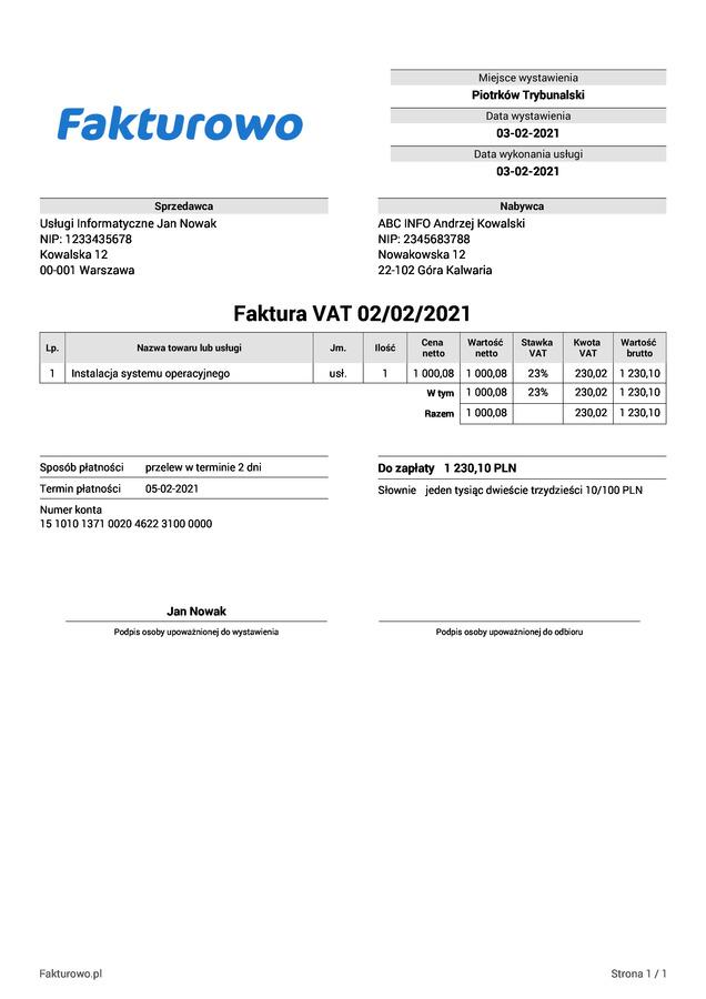 Faktura VAT wzór